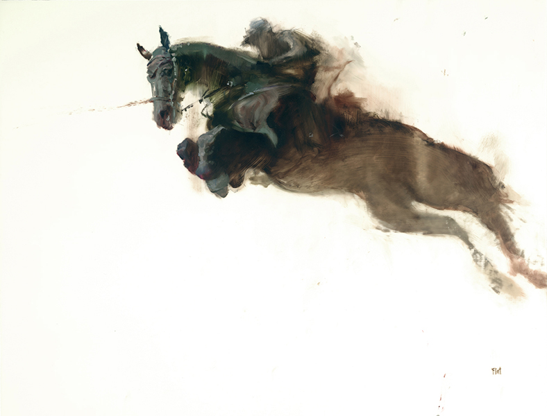 'Leap 5', 14 x 17, Oil on Mylar, SOLD