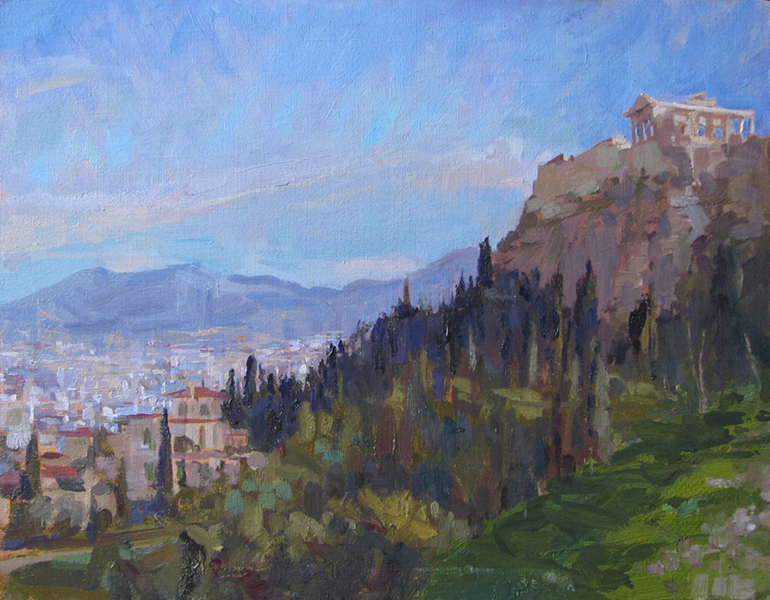 'Athens from Aeropagus Hill', 11 x 14, Oil on Linen on Panel, SMG ID #733