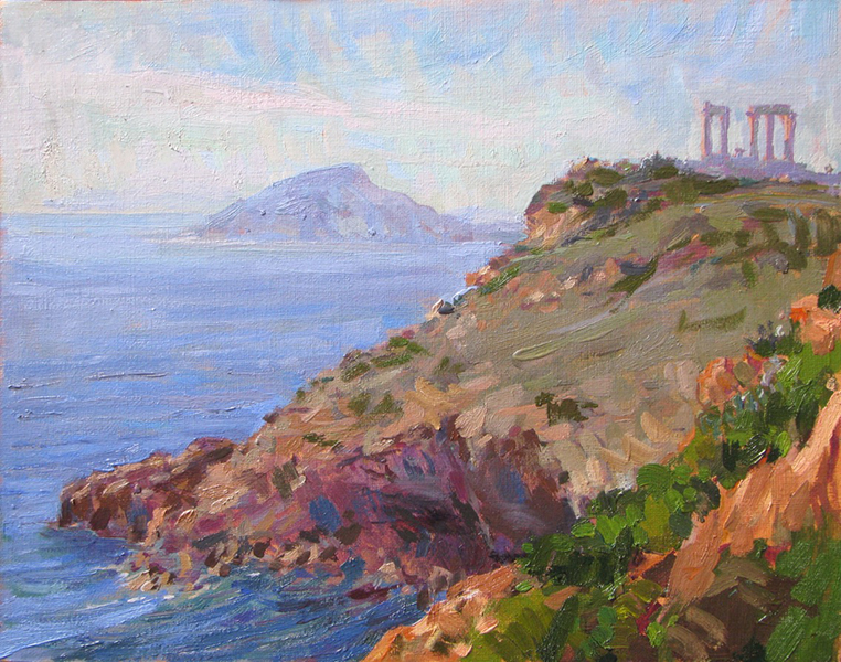 'Cape Sounio', 11 x 14, Oil on Linen on Panel, SMG ID #741