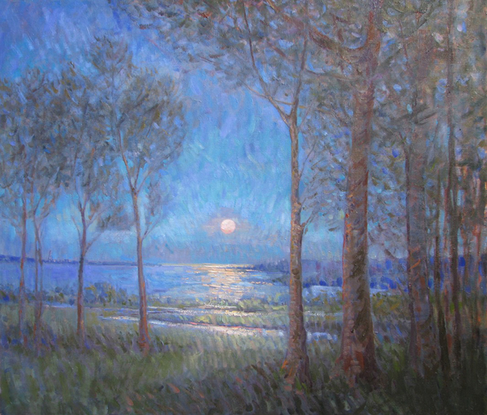 Summer Moonrise, Cape Ann', 36 x 42, Oil on Linen, SMG ID #740