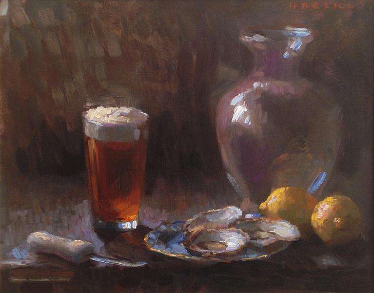 'Wellfleets & Sam Adams', 16 x 20, Oil on Linen, SMG ID #746
