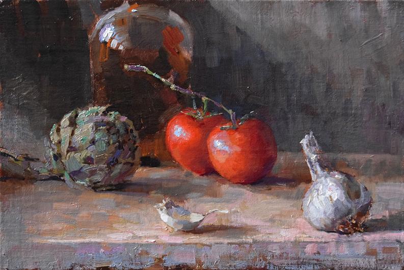 'Artichoke, Tomato, Garlic', 10 x 15, Oil on Linen, SMG ID #930