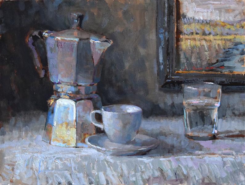 'Breakfast', 12 x 16, Oil on Panel, SMG ID #927