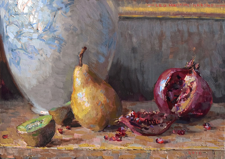 'Pear & Pomegranate', 10 x 14, Oil on Panel, SMG ID #928