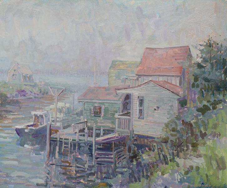 'Docks in Fog', 20 x 24, Oil on Linen on Panel, SMG ID #845