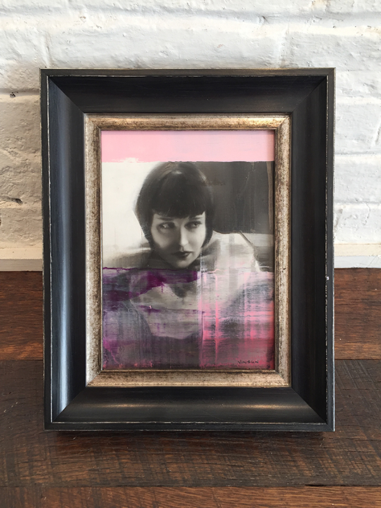'Minx in Pink' Framed, SOLD