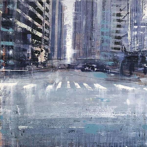 'Diario Americano', 20 x 20, Oil on Canvas, SOLD