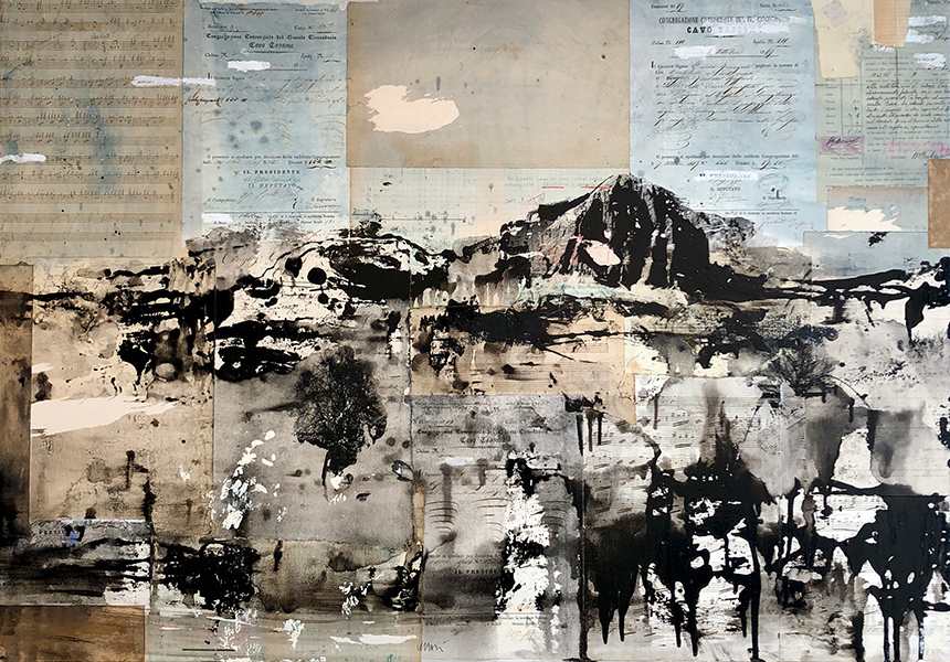 'Lunar Landscape 3', 28 x 40, Oil & Old Paper on Canvas, SMG ID #