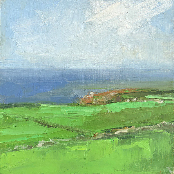 'Cornish Fields', 8 x 8, Oil on Panel, SOLD
