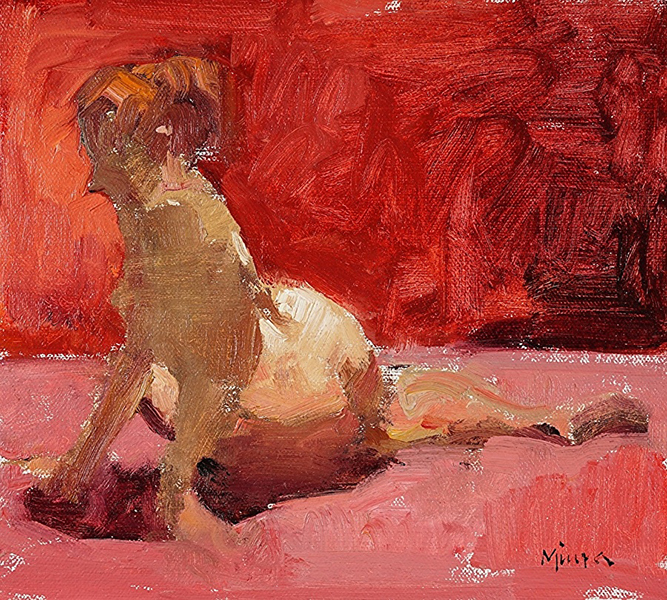 'In the Red Room', 9 x 10, Oil on Panel, SMG ID #
