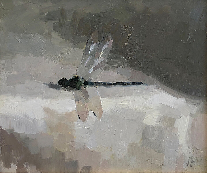'Dragonfly 3/19', 8 x 9.25, Oil on Panel, SOLD