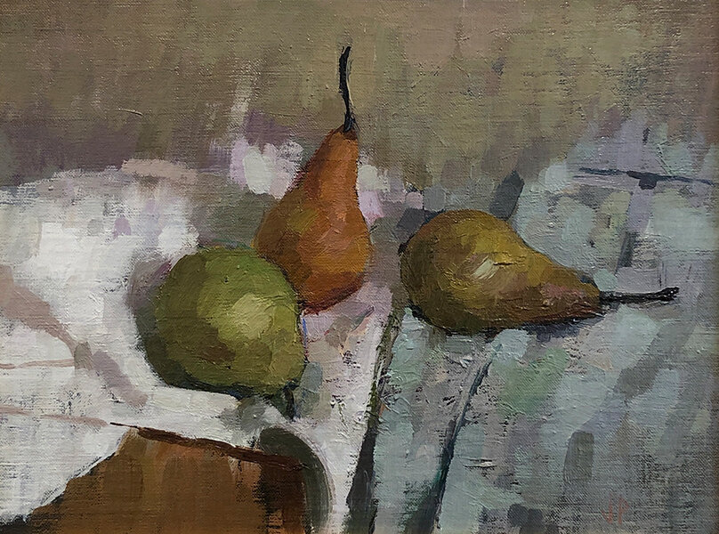 'Pears', 10 x 13, Oil on Linen on Panel, SMG ID #
