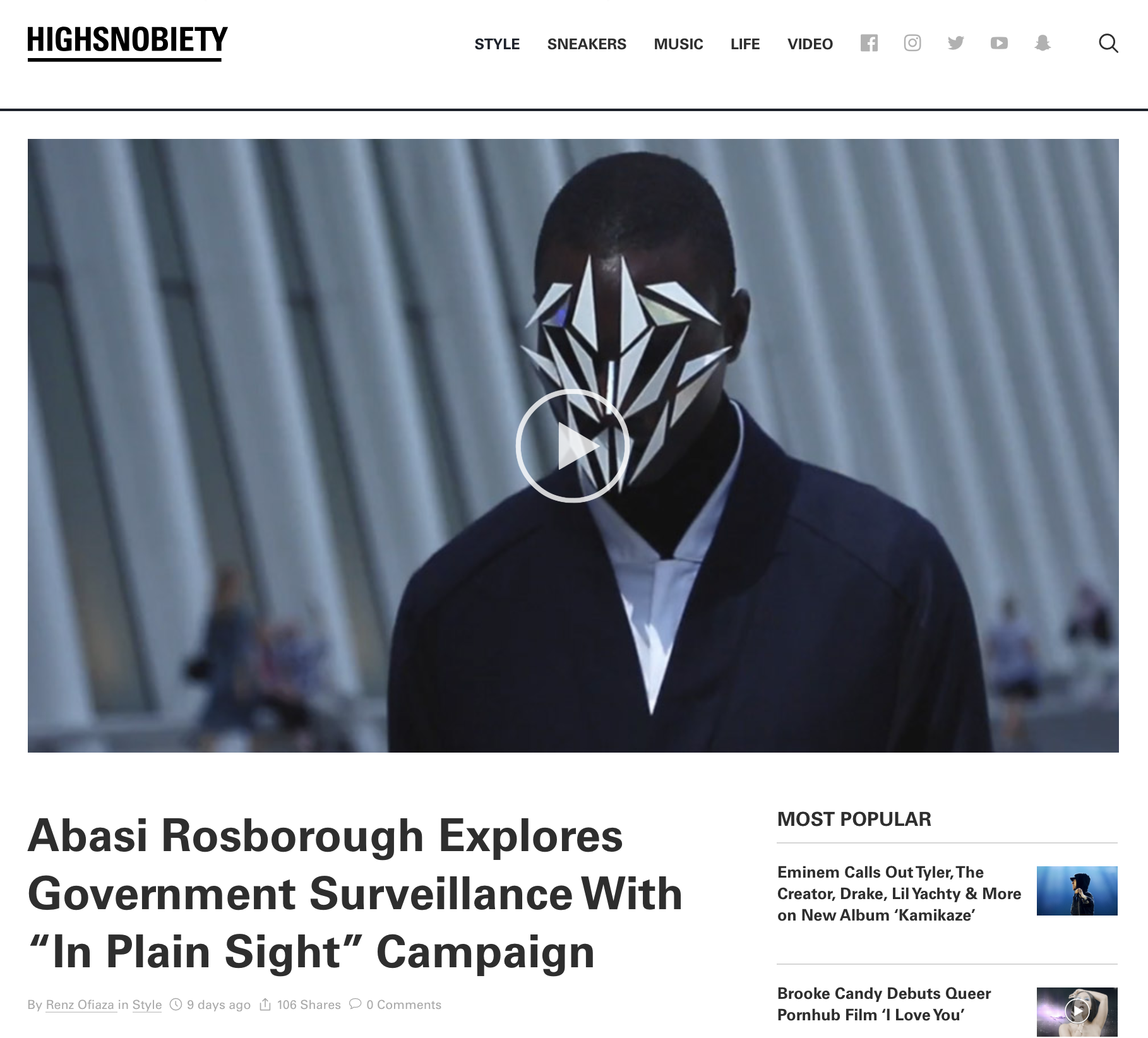 'In Plain Sight', a short film directed, shot and edited for  Abasi Rosborough ,  published on Highsnobiety