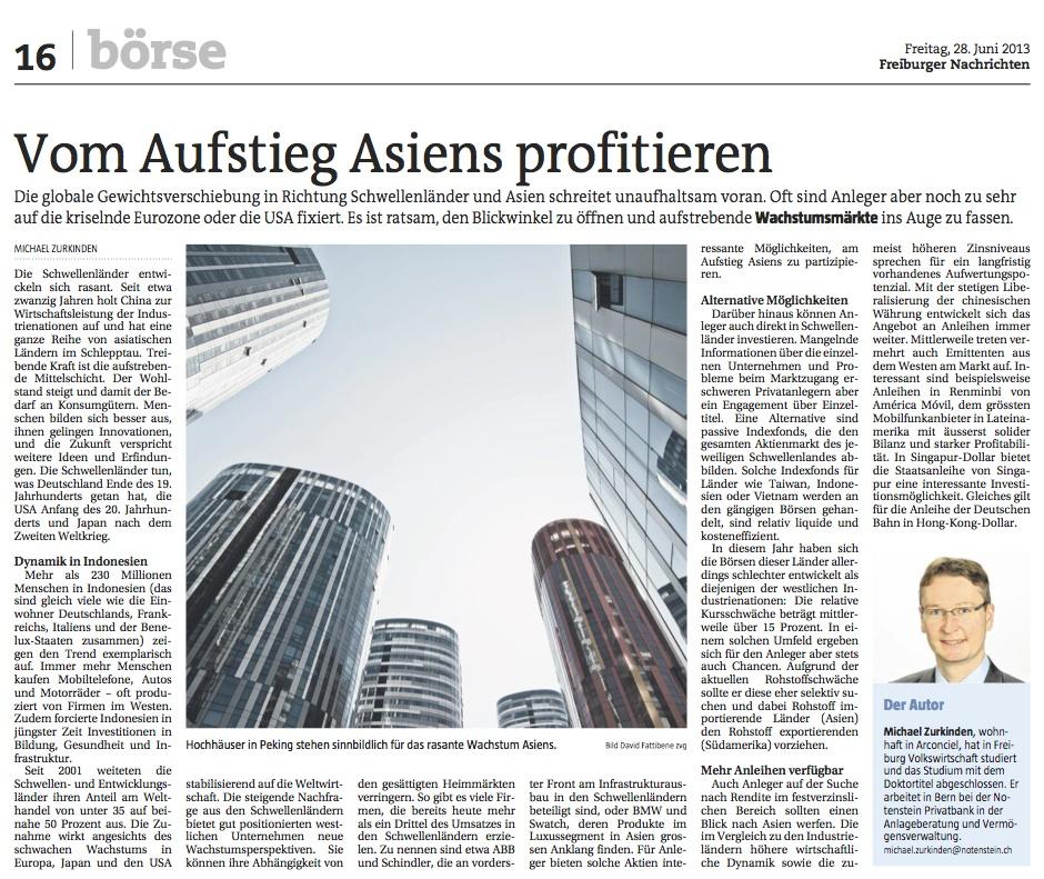 Freiburger Nachrichten, 28 June 2013