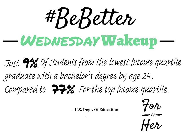 """Just 9% of students from the lowest income quartile graduate with a bachelor's degree by age 24, compared to 77% for the top income quartile"" - U.S. Dept. of Education... The disparity between low-income students who are able to earn a college degree of any kind is something we are dedicated to fighting. Something that can help close that gap is being able to help students afford the high costs of tuition.  Use the link above 👆to make a donation right now 🙏 and help us serve those low-income college students struggling to afford the sometimes crushing level of debt student loans can be and be sure to add your email to our newsletter list so you can stay informed about all things I Do It For Her! . . . #BeBetter #ForHer #talkpoverty #WednesdayWakeup #IDoItForHer #PellGrants #lowincomestudents #STL #scholarships #charity #studentdept #CloseTheEducationGap #USEd #educationreform"