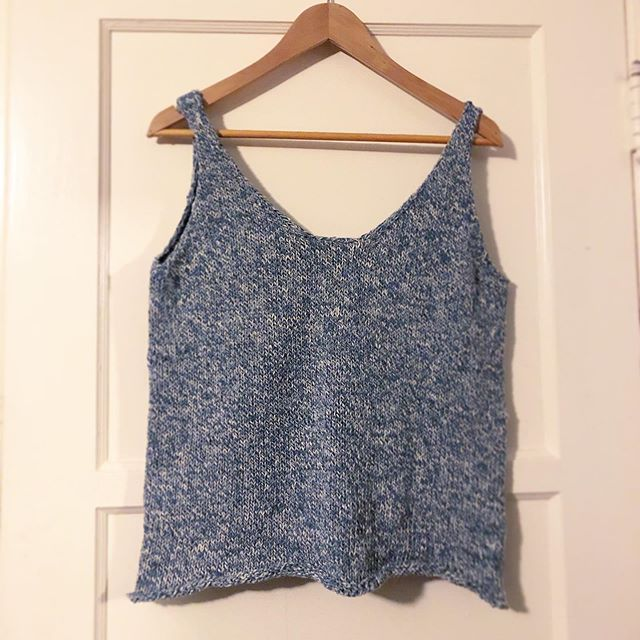 I completely forgot that I finished this cropped sweater tank a few months ago. . . . Knitting/crocheting/embroidery has become a way for me to work out my anxiety and I sometimes forget about the finished product. I'm happy with how this turned out— I adapted a pattern that I had to make it a double v using recycled denim yarn. #shareyourknits #knitting #billiejeanyarn #woolandthegang #stockingstitch #stockinettestitch