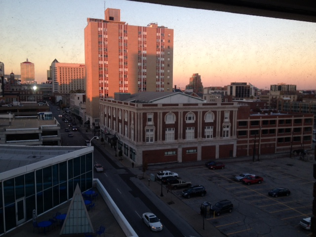 Enjoying sunrise out my apartment window