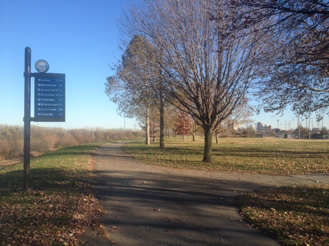 Bicycle ride on Louisville Loop (downtown straight ahead, Ohio River to my left).