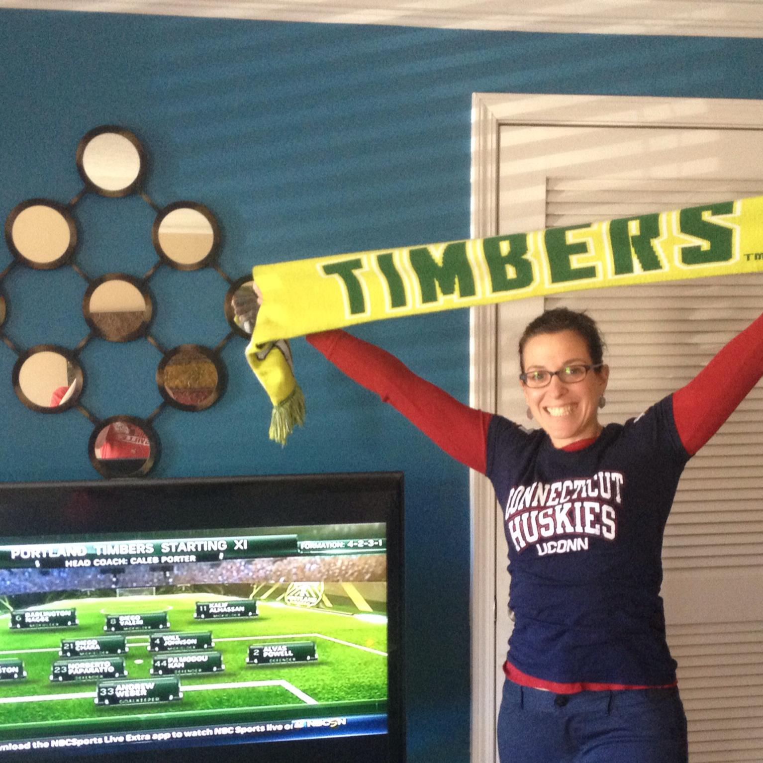 Cheering for Portland Timbers (PTFC) and Huskies Saturday.