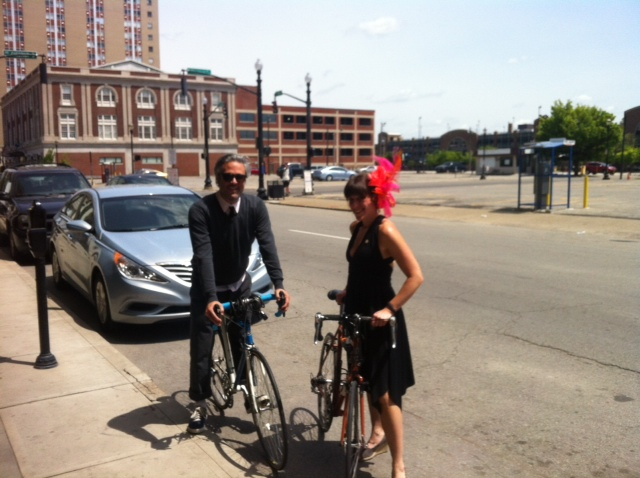 Leaving the Henry Clay to bicycle to Churchill Downs.