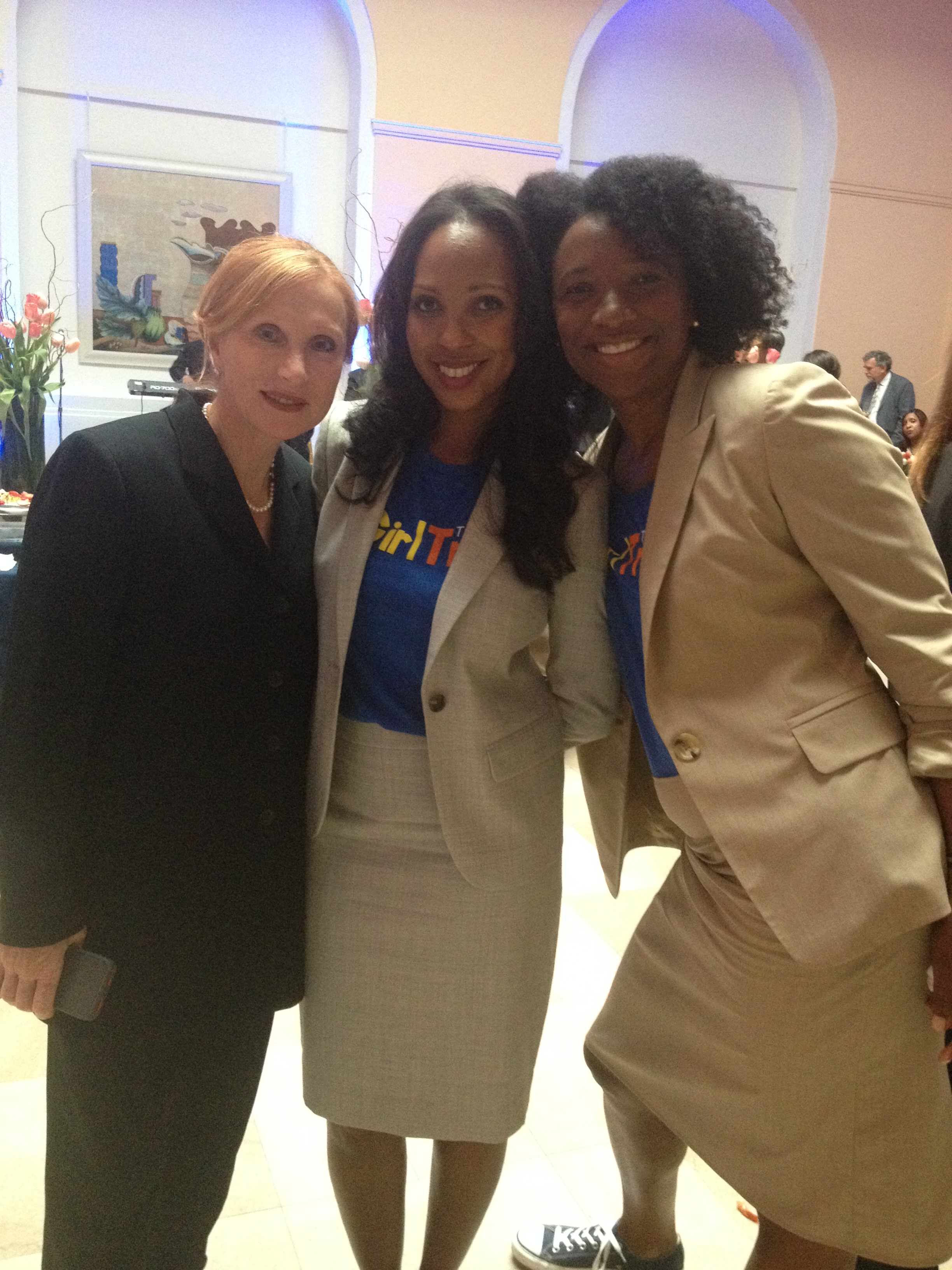 VIcki Crawford, Clinton Foundation with Vanessa Garrison and Morgan Dixon from Girl Trek in Newark for the Childhood Obesity Forum.