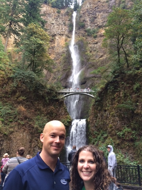 Jamie Sparks and Stephanie Bunge from #KYCSH at Multnomah Falls in the Columbia Gorge.