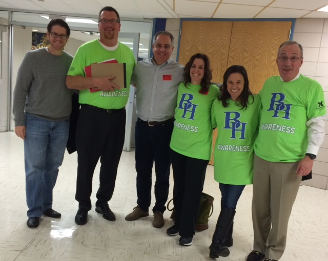 Supporters of the EVEN Program, HS staff, including Principal Bosari (second from left) and Harris and Nicole Schwartzberg on either side of me.