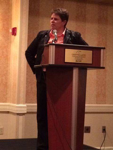Jenny Dearden receiving an award for Mustang Award, KAHPERDs highest honor!