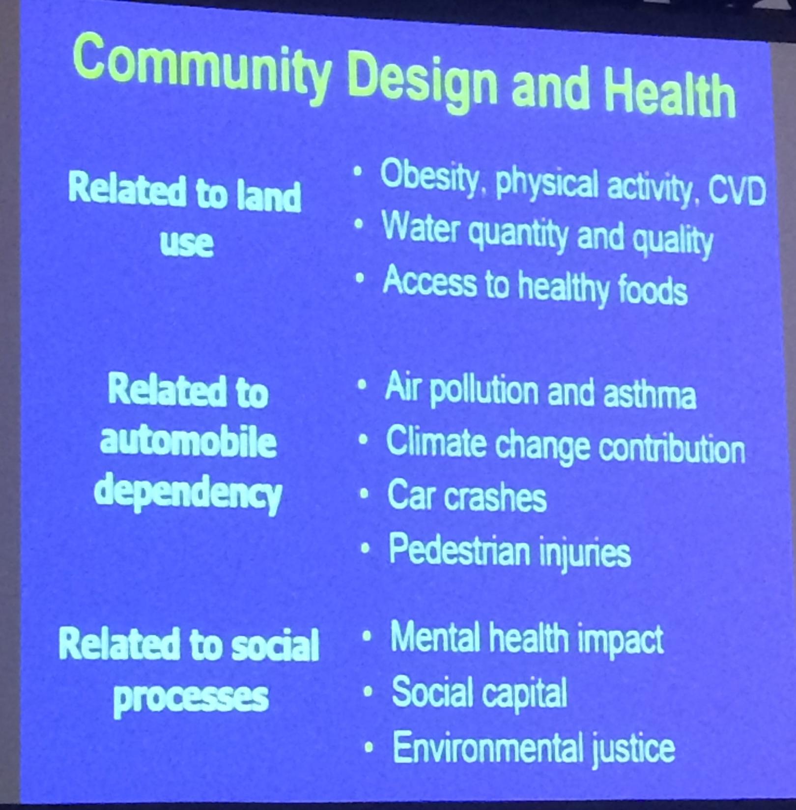 Andrew Dannenberg's slide addressing the built environment and health.