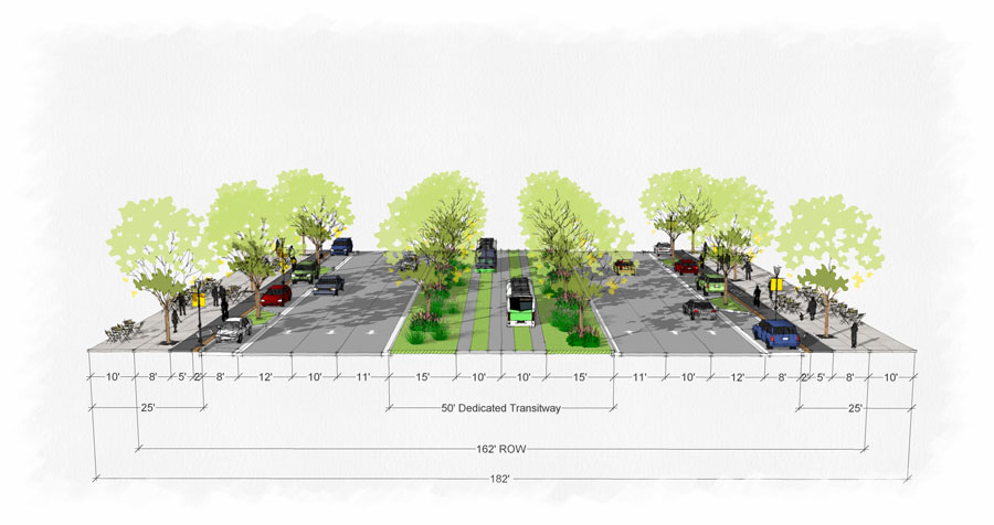 Plans to transform current eight-lane Rockville Pike with rapid bus lanes and walkways separated from roadway -- Credit: Montgomery County