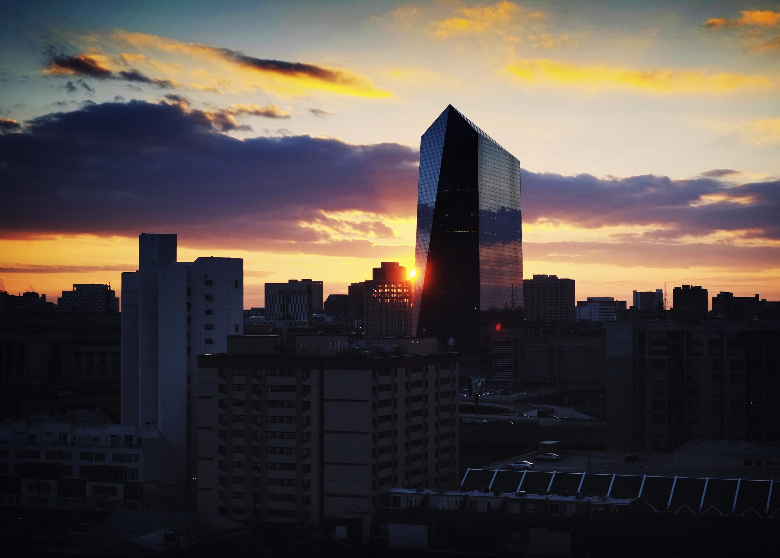 Monday's sunset in Philadelphia.
