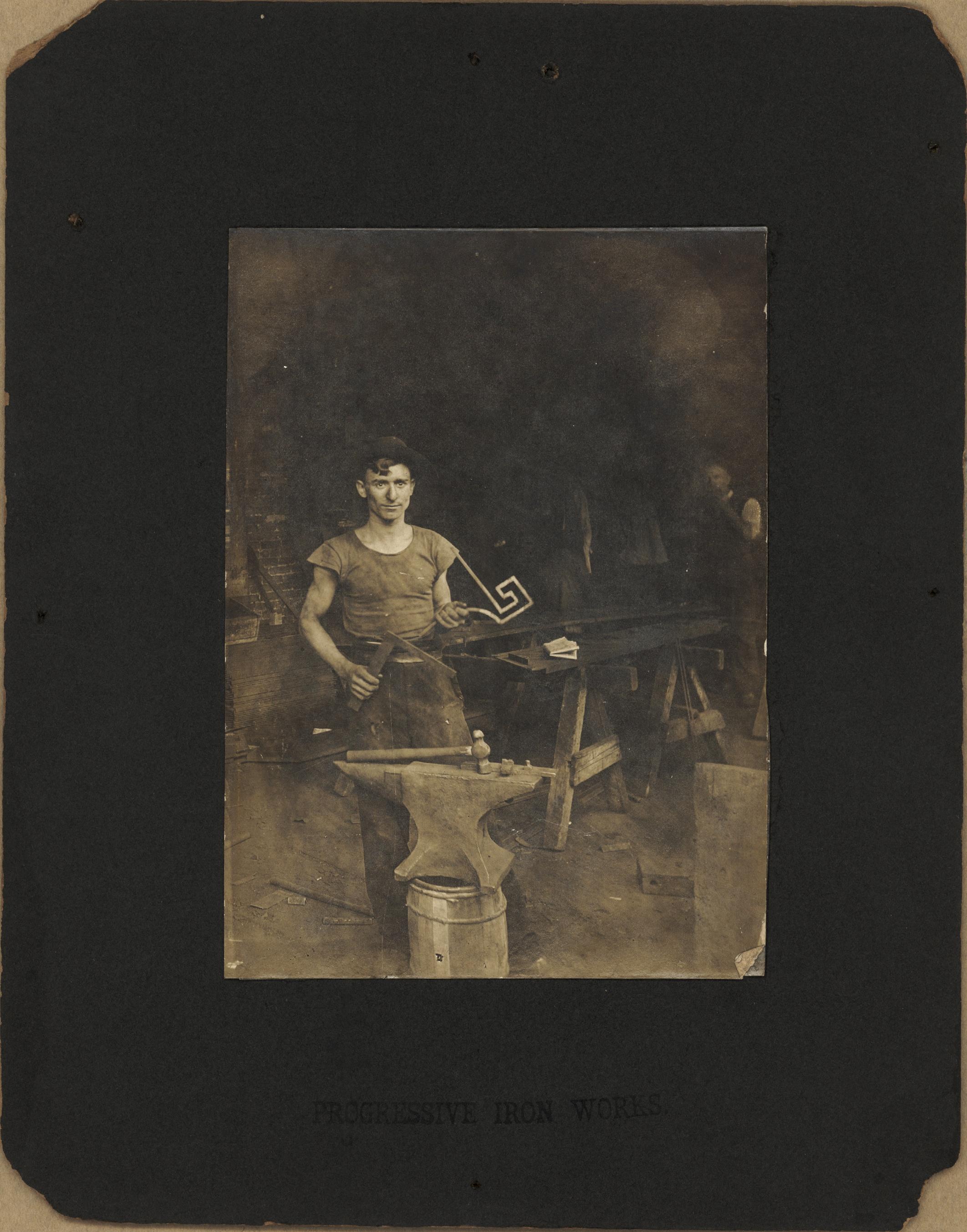 1910s New York  Joseph Acquiste, blacksmith at Progressive Iron Works.