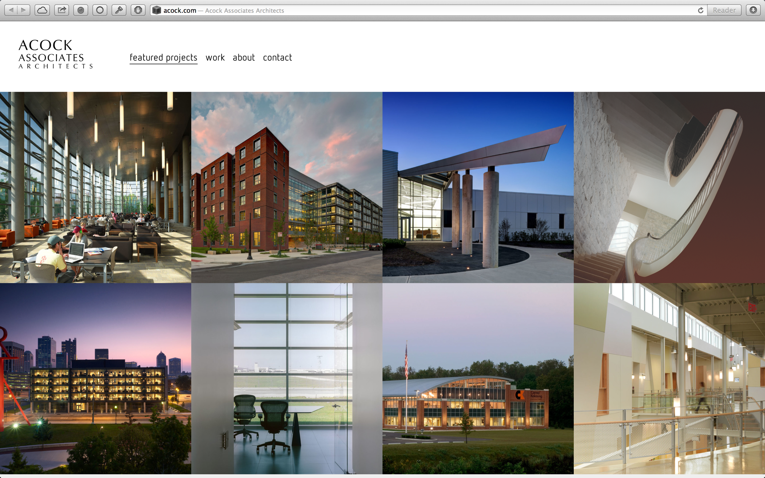 New, Acock Associates Architects landing page.