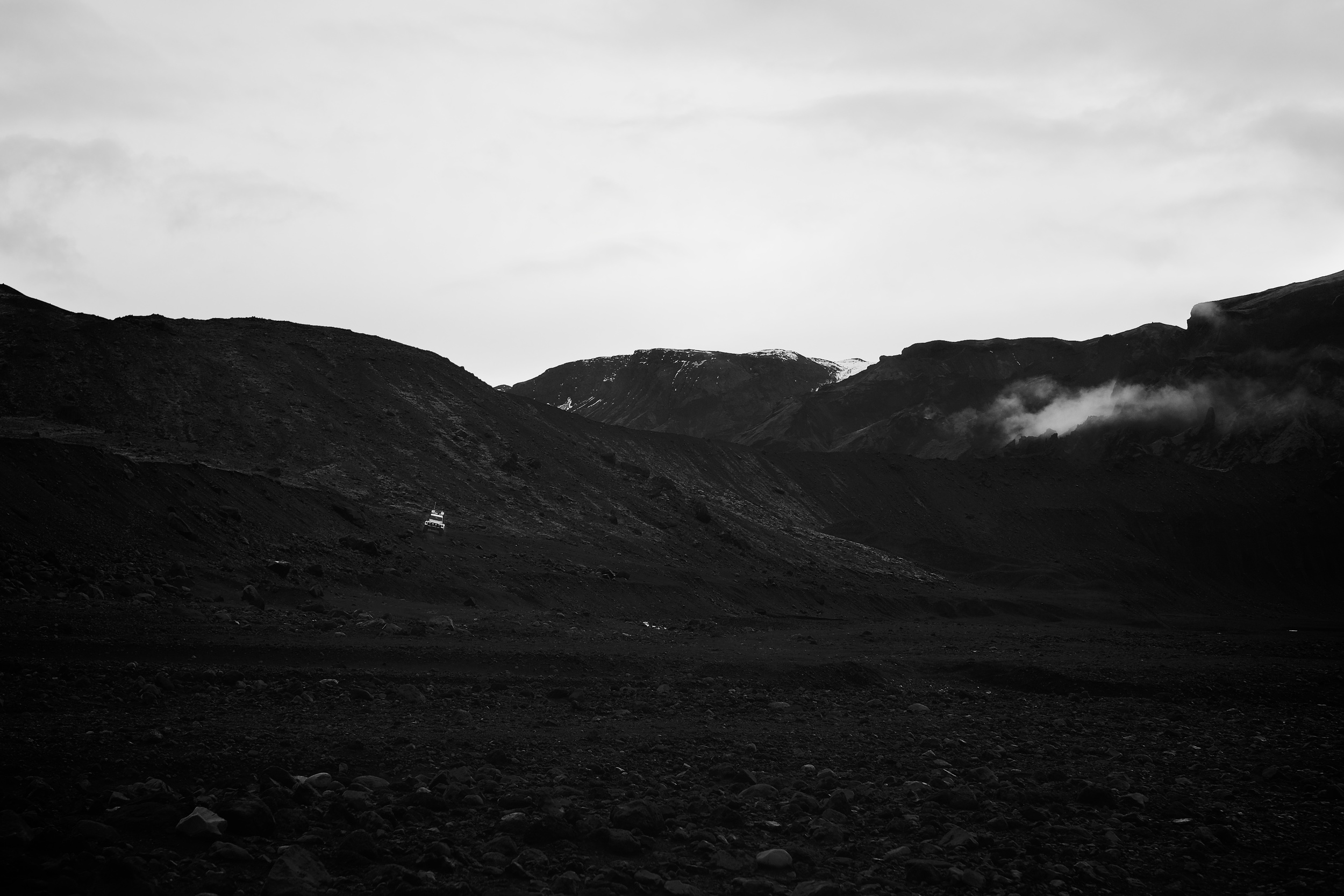 As we rode deeper into the Highlands towards three [active] volcanos and a glacier.