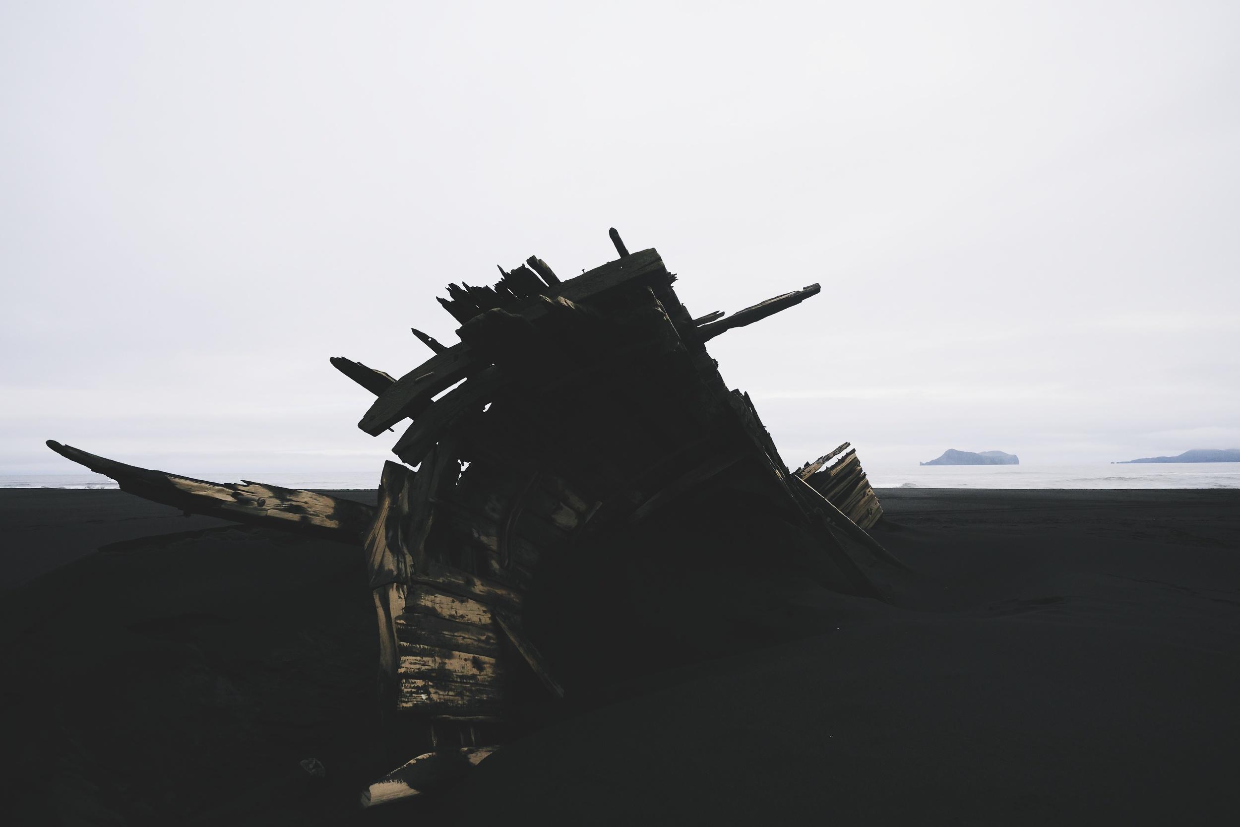 Shipwreck on the black beaches near Vestmannaeyjar.