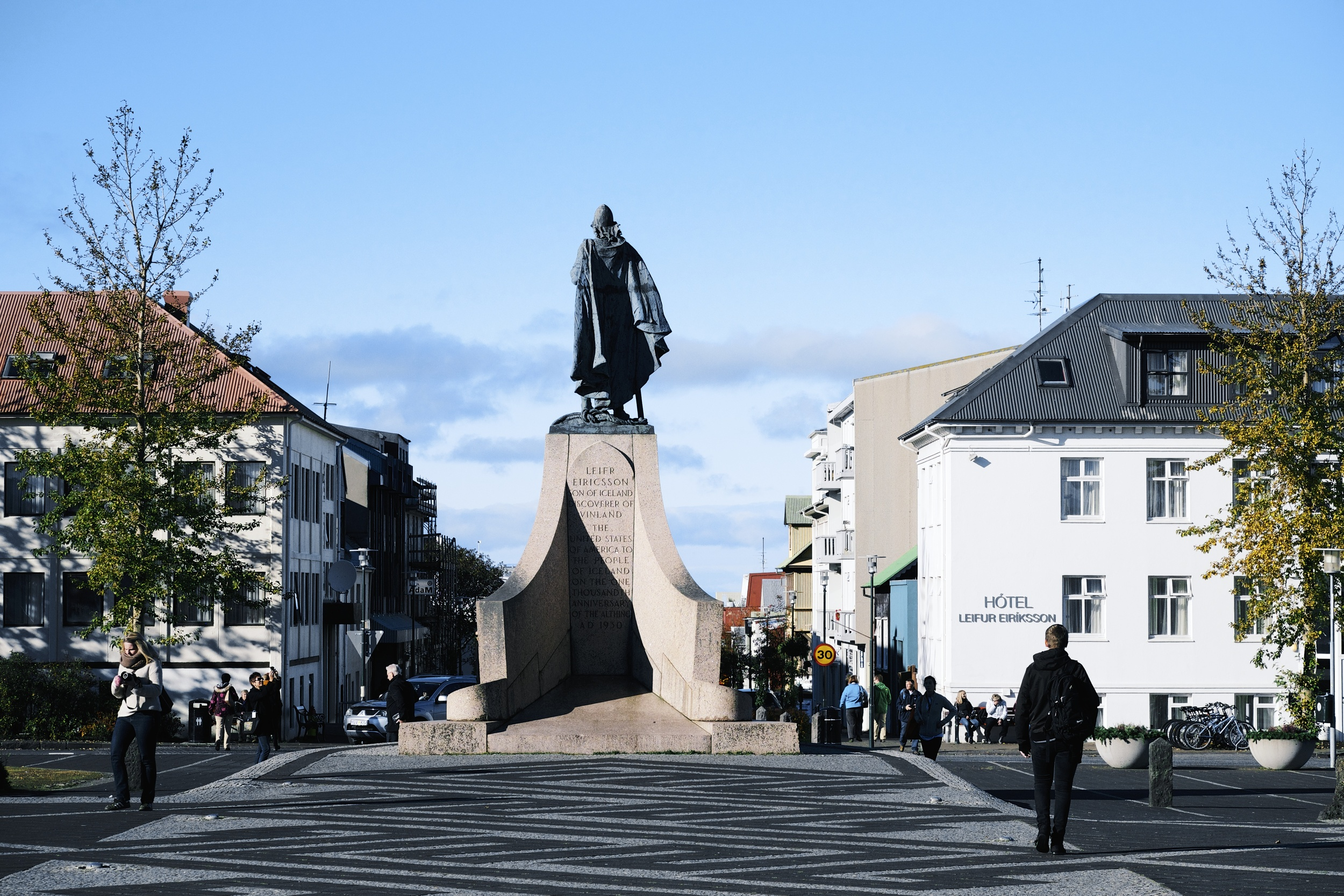"""""""LEIFR EIRICSSON SON OF ICELAND, DISCOVERER OF VINLAND. THE UNITED STATES OF AMERICA TO THE PEOPLE OF ICELAND ON THE ONE THOUSANDTH ANNIVERSARY OF THE ALTHING. 1930"""""""