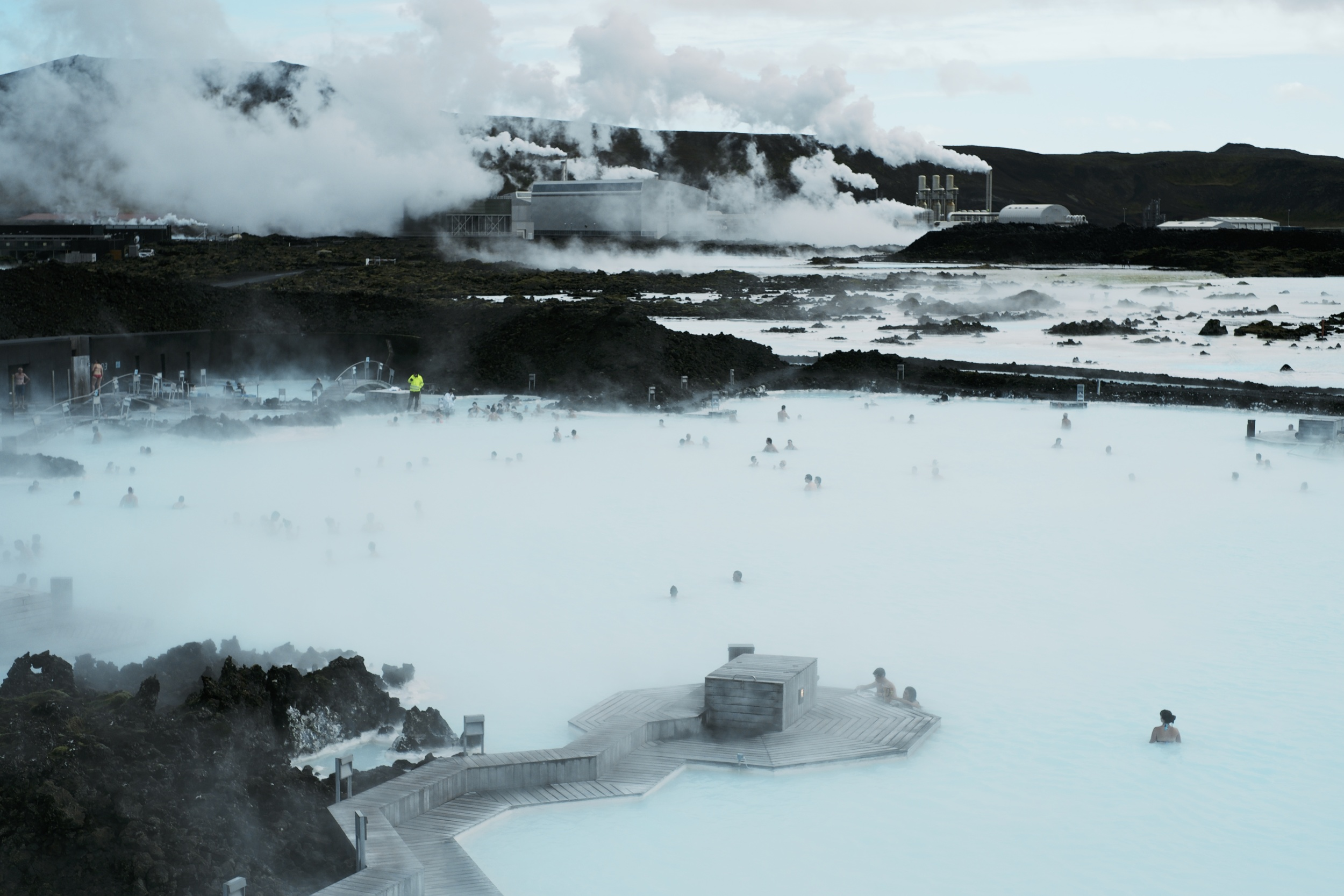 Lagoon in the foreground, geothermal in the distance.