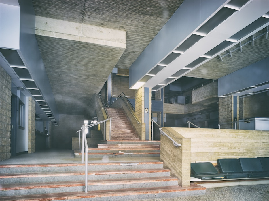 Atrium area, and troublesome motor vehicles counter toward the back right.