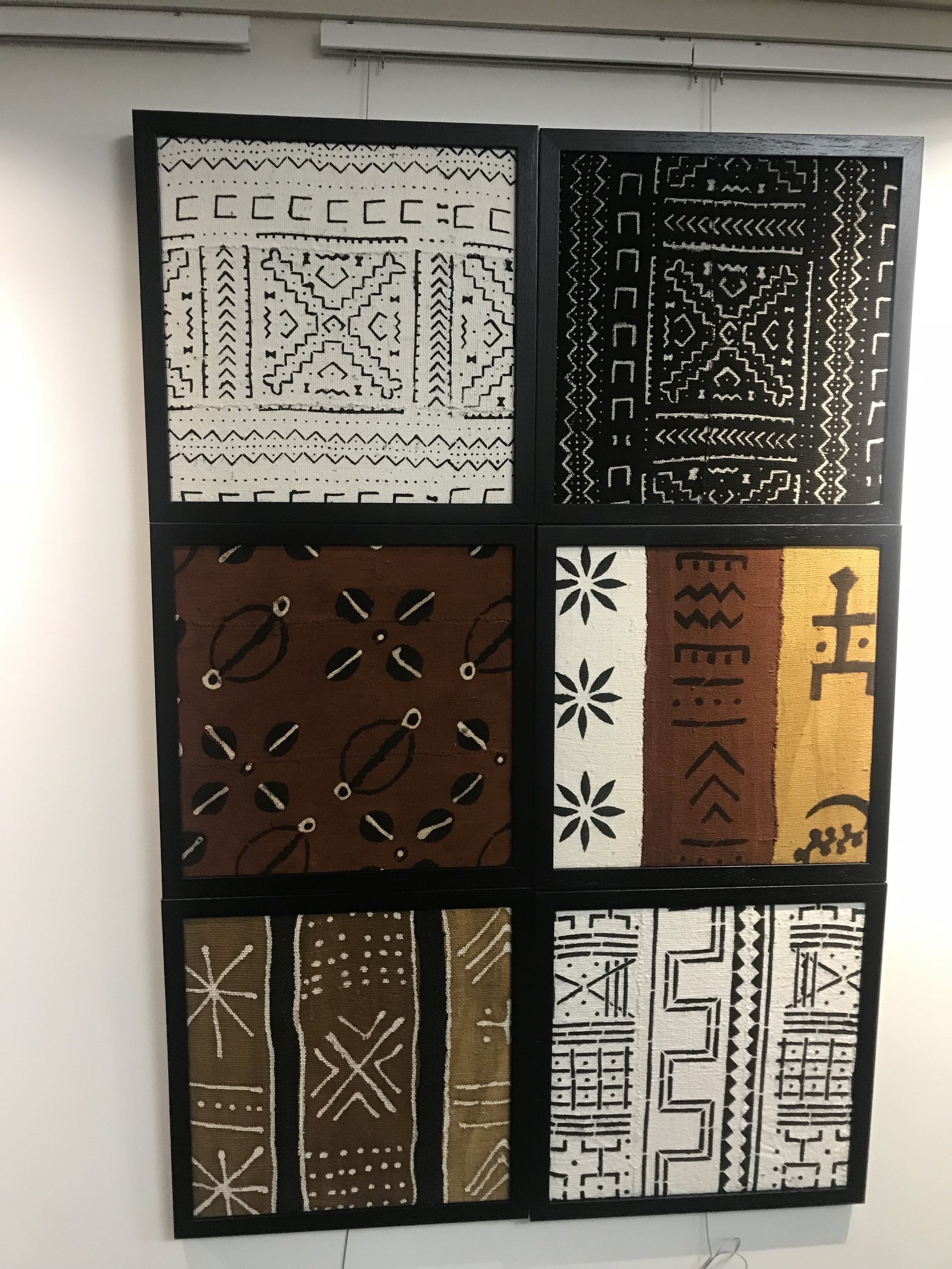 Each of the square pieces above are on sale for $75!  Product Names: White Cross Patch, Black Cross Patch, Rust Cowry Shells Patch, Brown and Mustard Patch, White Rust Gold Patch,White Zigzag Patch