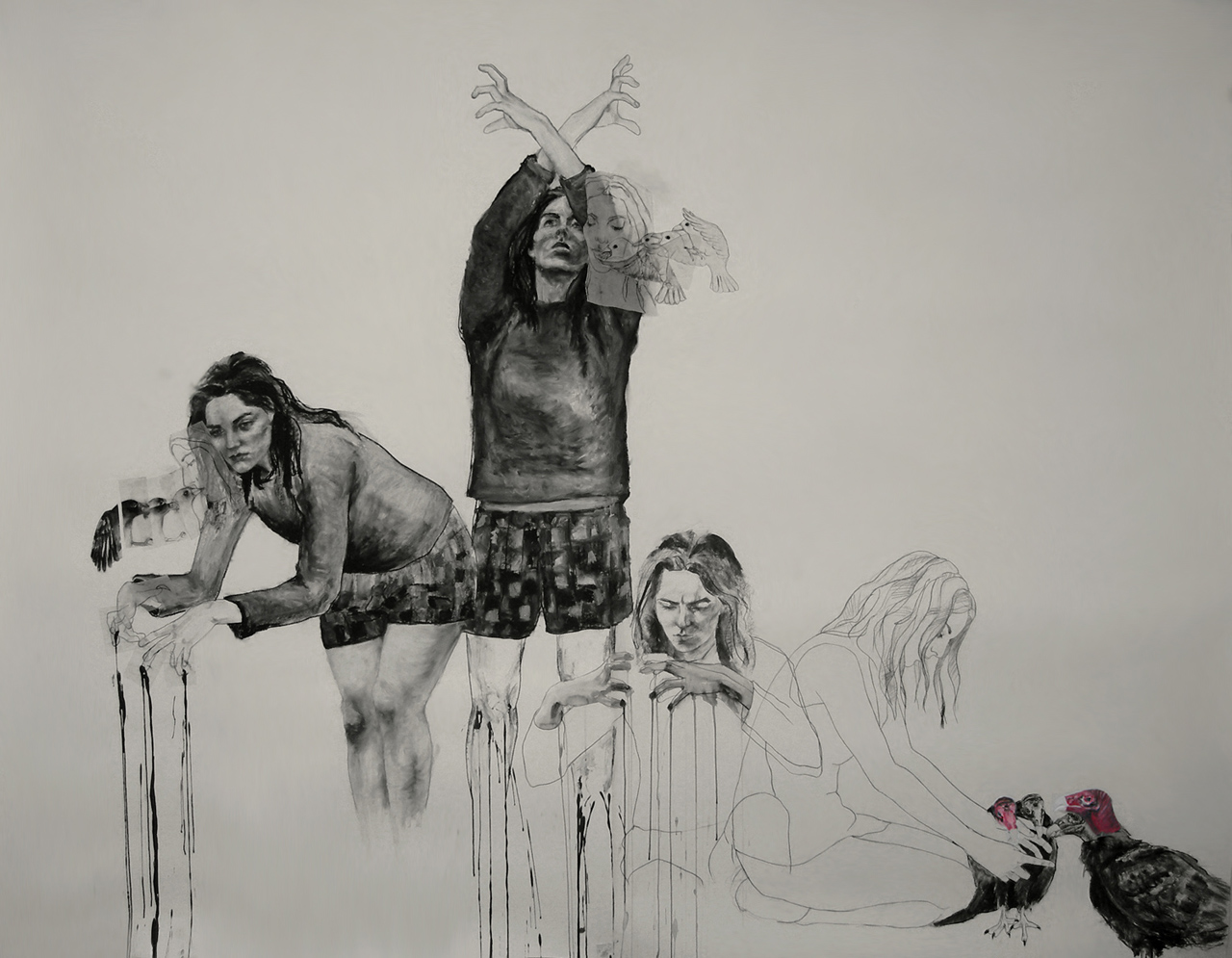 """Destroy to create / 78"""" x 96"""" / Oil pastel & charcoal on paper"""