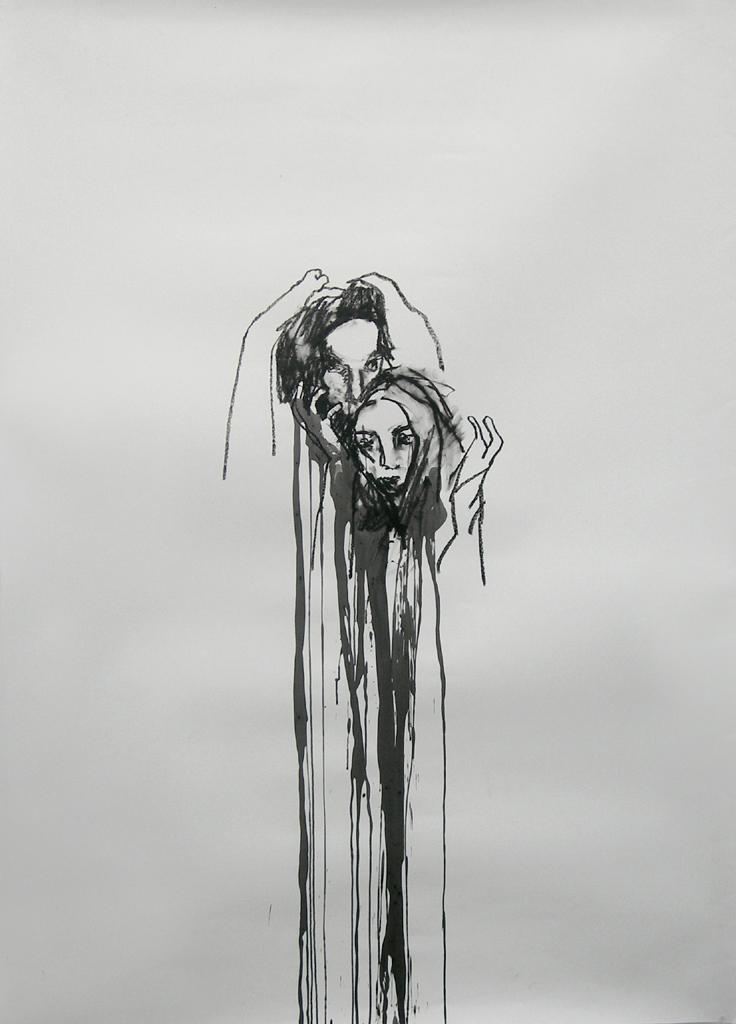 """Dark days / 84"""" x 48"""" / Oil pastel & ink on paper SOLD"""