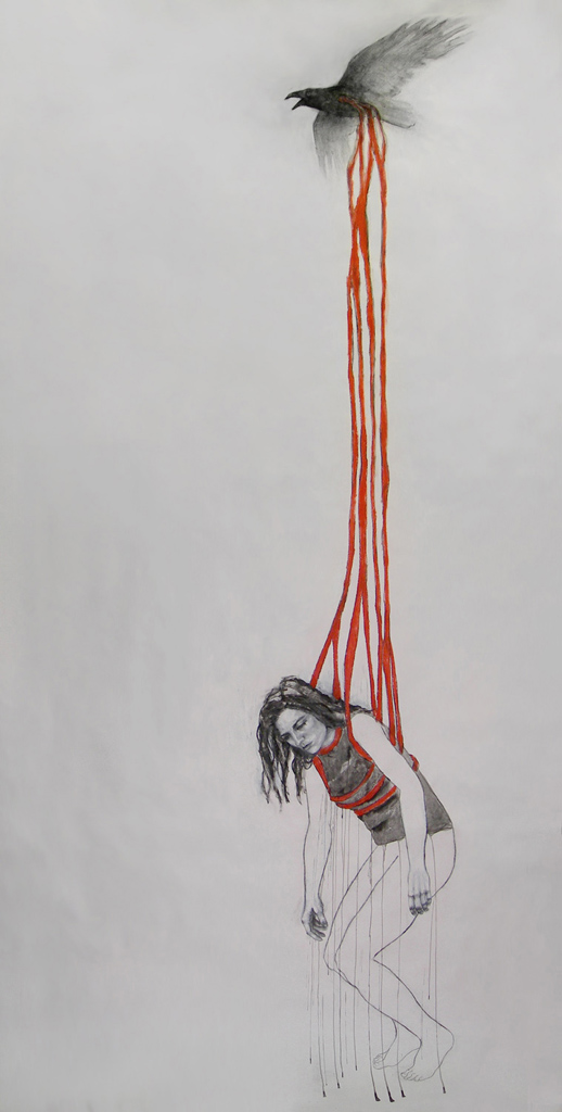 """You carry me through /122"""" x 60"""" / Oil pastel & ink on paper"""