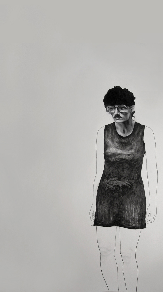 """She's waiting for Godot / 84"""" x 60"""" / Oil pastel & charcoal on paper"""