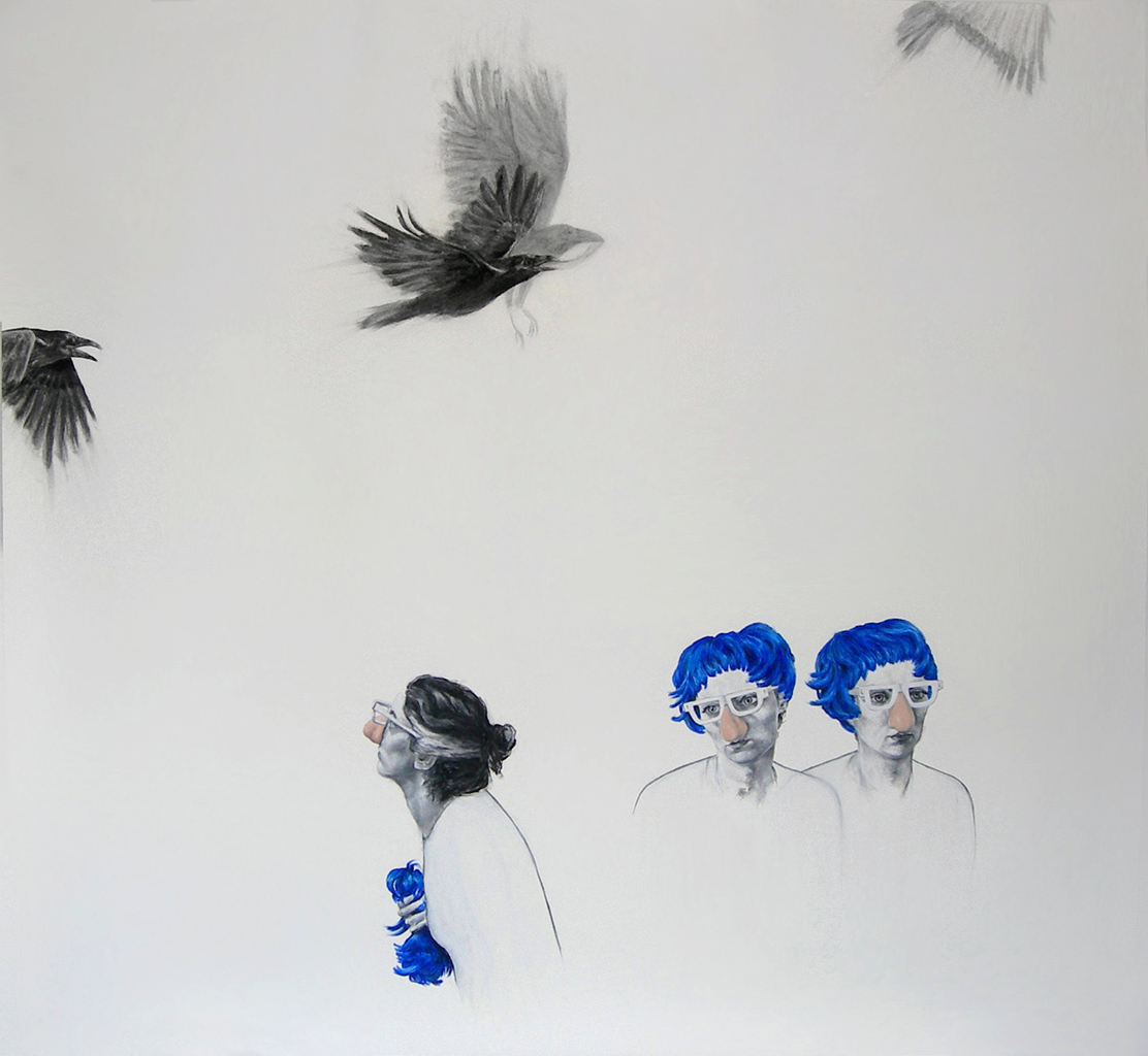 """We fool, but we believe / 72"""" x 84"""" / Oil pastel & charcoal on paper"""