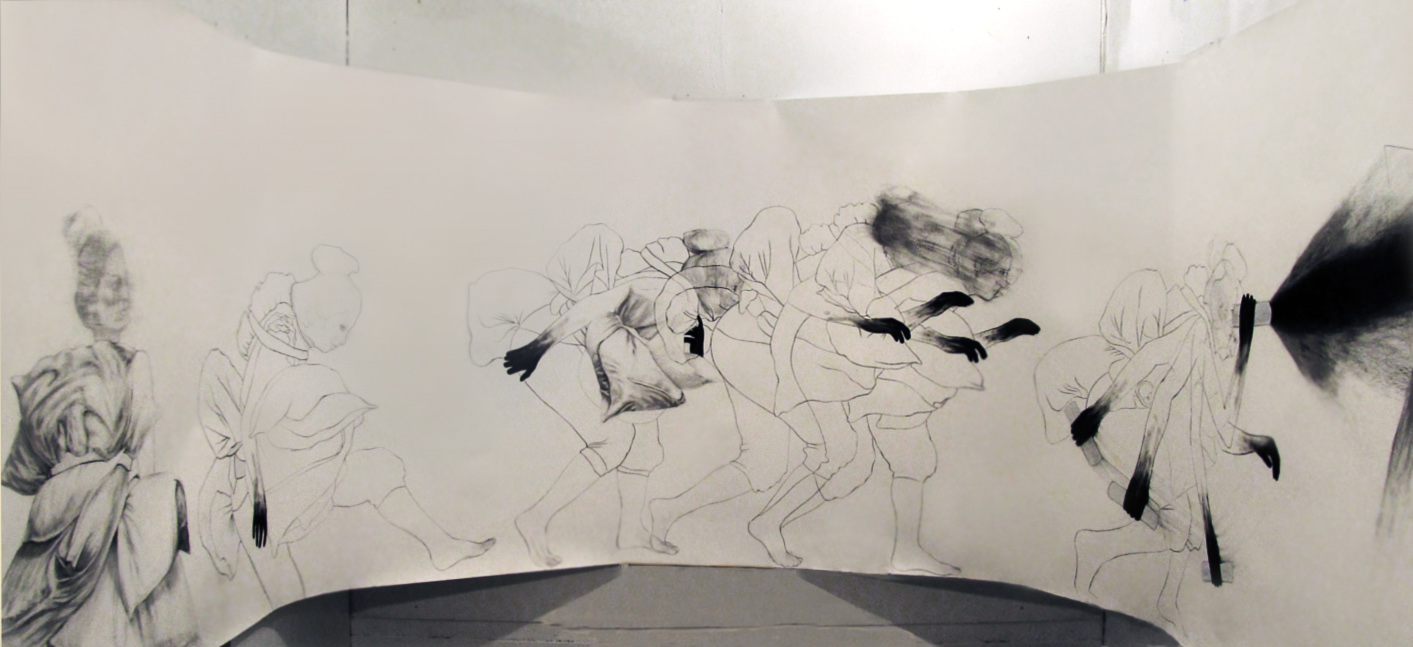 """Hunting for meaning (installation shot) / 60"""" x 168"""" / Charcoal, pencil & oil pastel on paper"""