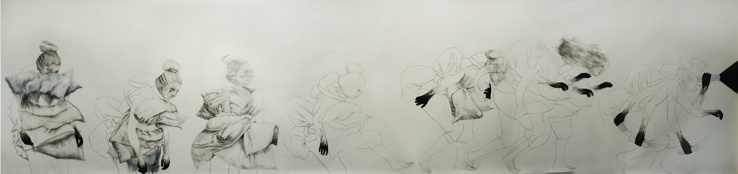 "Hunting for meaning / 60"" x 168"" / Charcoal, pencil & oil pastel on paper"