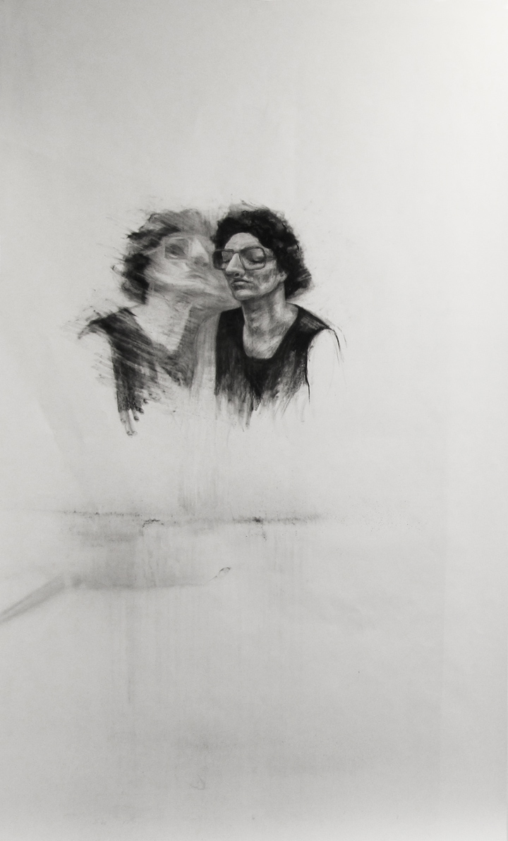 """Taking over / 95"""" x 60"""" / Charcoal on paper"""
