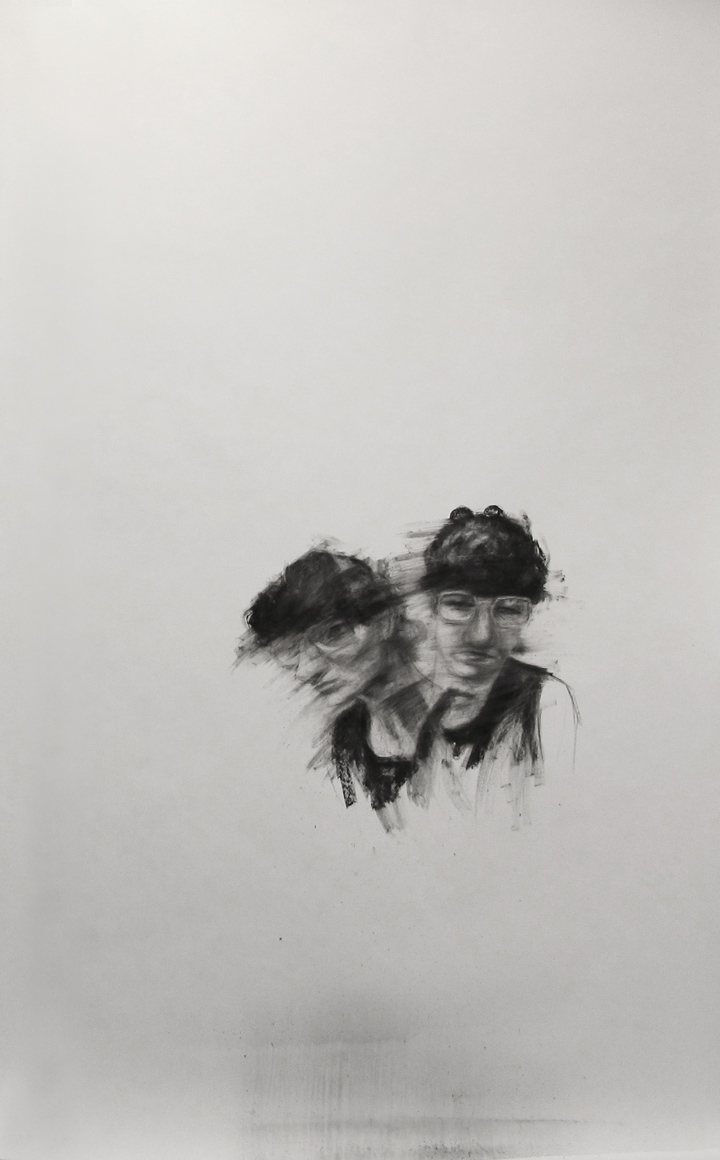 "Twin confusion / 95"" x 60"" / Charcoal on paper"