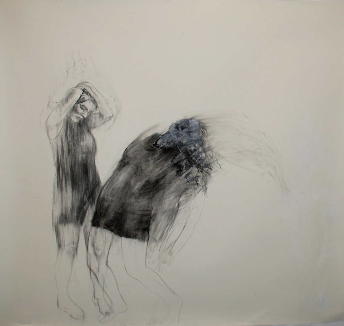 """Resistance / 84"""" x 90"""" / Oil pastel & charcoal on paper"""