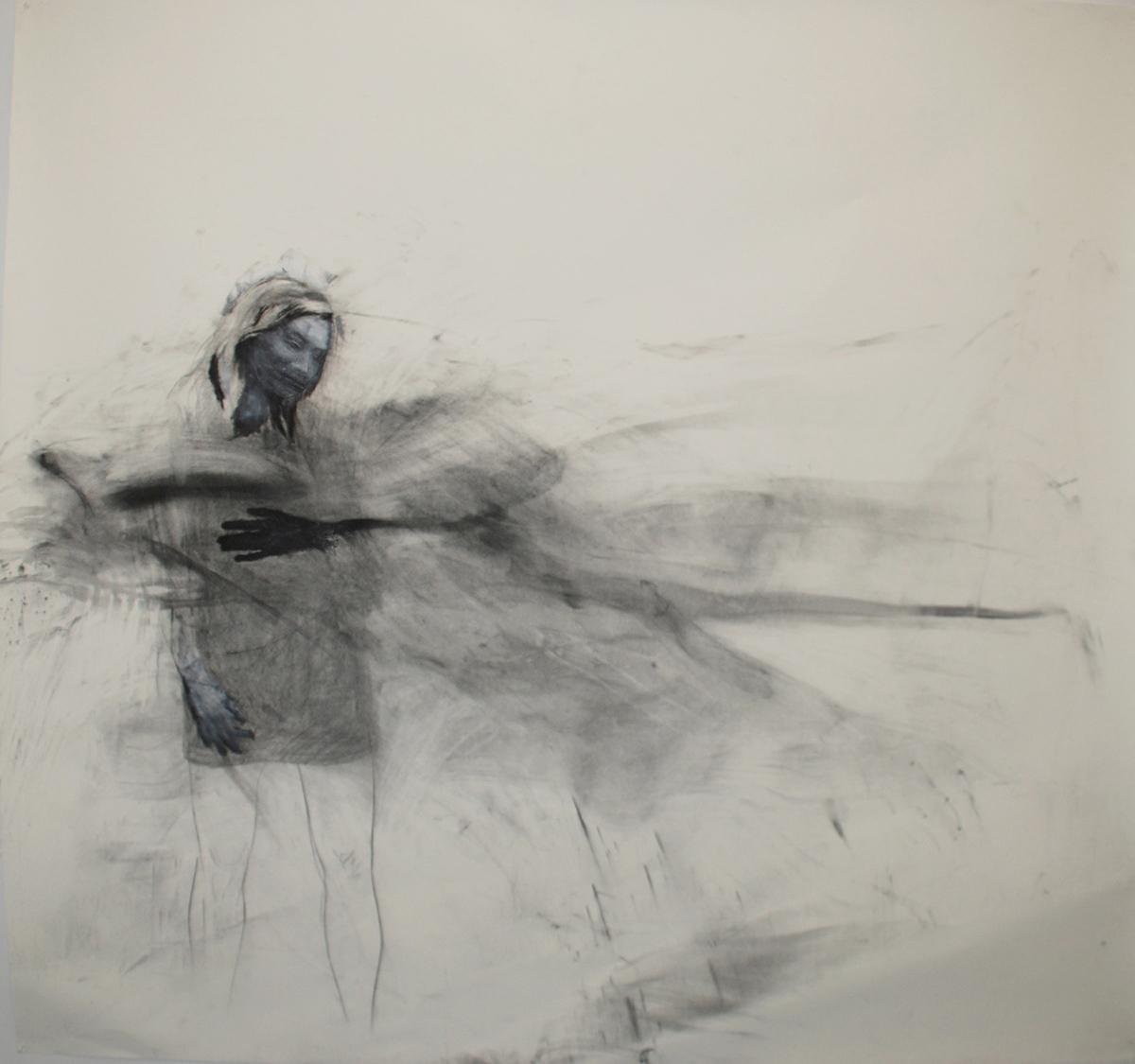 "Entropy / 84"" x 90"" / Oil pastel & charcoal on paper"